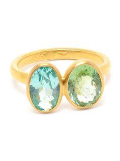 MARIE HELENE DE TAILLAC Double Tourmaline Gold Ring
