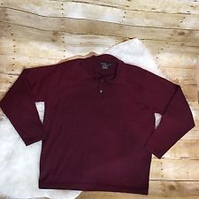 TIGER WOODS NIKE GOLF M Wool Striped Red Gray Button Collar Long Sleeve Sweater