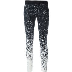 Reebok brushes print leggings ($92) ❤ liked on Polyvore featuring pants, leggings, black, legging pants, patterned pants, patterned trousers, patterned leggings and reebok pants