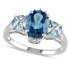 Allurez Diamond & Oval Blue Topaz Fashion Ring Sterling Silver... (1.070 BRL) ❤ liked on Polyvore featuring jewelry, rings, accessories, white, diamond jewelry, white jewelry, sterling silver diamond rings, diamond jewellery and sterling silver oval ring