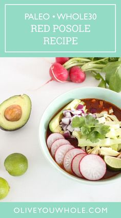 By Caroline Fause.. This Red Posole Recipe is both Whole30 + Paleo compliant! It's such a delicious Whole30 + Paleo soup recipe that is packed with fresh veggies on top! - Olive You Whole Whole30 Soup Recipes, Paleo Soup, Beef Recipes, Lunch Recipes, Dinner Recipes, Potato Hash Recipe, Sweet Potato Hash, Sweet Potato Casserole, Red Pork Posole Recipe