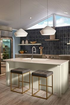 Shown in this modern kitchen, the Brummel Grande pendant light by Tech Lighting has clean, sharp lines that harmonize with the soft, matte finish of its mid-century inspired spun metal lighting shade. Available with White (shown) or Charcoal Grey shades.