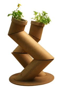 Segmented Cardboard Tube Planter (pot, projects, crafts, DIY, do it yourself, interior design, home decor, fun, creative, uses, use, ideas, inspiration, reduce, reuse, recycle, used, upcycle, repurpose, handmade, homemade)