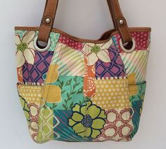 Fossil Leather Patchwork Floral Tote Shoulder Purse Boho Bag No Key EUC #Fossil #TotesShoppers