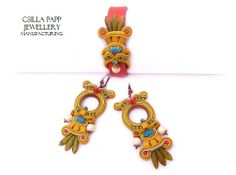 OOAK Soutache Earrings with a leather and by CsillaPappJewellery, $160.00