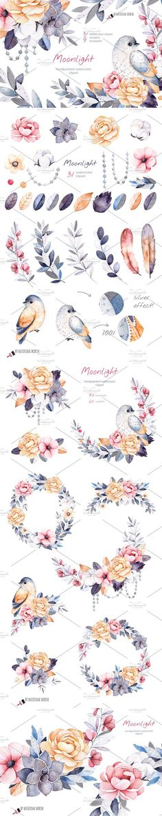 Moonlight. Watercolor collection. Wedding Card Templates. $15.00