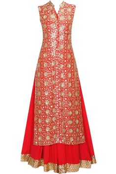 Red floral pattern sequins embroidered jacket kurta and lehenga set available only at Pernia's Pop Up Shop.#perniaspopupshop #shopnow #anushkakhanna#partyseason #happyshopping #designer #clothing #festive #weddings: