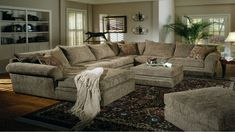 Oversized sectionals can add seating to a living space in addition to making a room look bigger or more elegant. These sofas can actually use less space than a traditional sofa and loveseat set, which typically seats around five people while providing space for six or even seven people....
