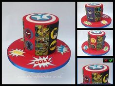 Superhero Themed Cake : This cake is based on some of the Marvel Comic Characters, Iron Man, Spider Man and Hawkeye, as well as Batman from DC comics. www.thecraftykitchen.co.uk