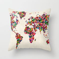 Butterflies Map of the World Map Throw Pillow by ArtPause - $20.00