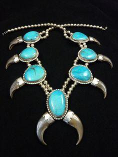 141g Vintage Navajo Sterling Silver Bear Claw Squash Blossom Necklace w HUGE Blue Gem Stones! Fabulous Design! Signed JR.