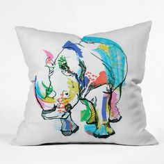 Casey Rogers Rhino Color Throw Pillow