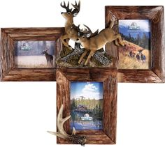 3 Picture Antler/FirWood Picture Frame - Visit our website at www.crystalcreekdecor.com for more sizes, selections, and BIG SAVINGS! on  Cabin/Lodge Décor.  Also be sure to join our mailing list for upcoming offers, new products and special package deals.