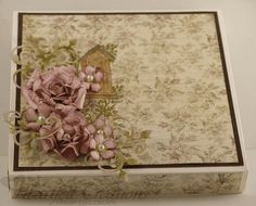 Heartfelt Creations | Birdhouse Rose Gift Box. I never think to stamp onto patterned paper.Looks really effective.