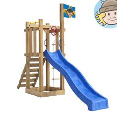 WICKEY Castle Minodor Climbing Frame Slide sandbox wooden Set cildren play tower | eBay