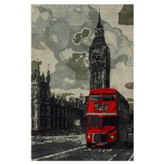 Hand-tufted wool rug with a London motif.   Product: RugConstruction Material: 100% WoolColor: Gray an...