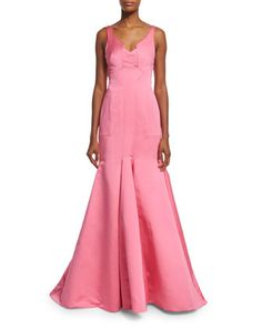 Sleeveless+V-Neck+Mermaid+Gown,+Pink+by+J.+Mendel+at+Neiman+Marcus.
