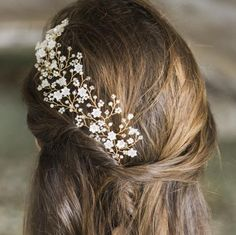 Image of pearl and crystal flower hairpins with gold wire - click to view