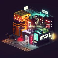 CyberPunk city, Mari K - bigoltrucks Cyberpunk City, Ville Cyberpunk, Futuristic City, Cyberpunk Tattoo, Cyberpunk 2077, Cyberpunk Fashion, Isometric Art, Isometric Design, Pixel Art