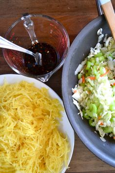 Spaghetti Squash Chow Mein - cook up a spaghetti squash and pull apart with fork.  In a pan, cook celery, onion & cole slaw mix. Then toss everything together with a quick sauce.  easy and healthy!