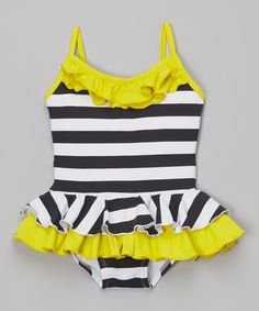 Look at this Black & Yellow Stripe Skirted One-Piece - Infant, Toddler & Girls on #zulily today!
