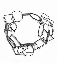 Open geometric design ... Linkage Necklace (Oxidized) - Biba Schutz | Dark Setting Necklace Jewelry
