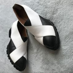 Jeffrey Campbell Shoes | Jeffrey Campbell Ibiza Leather Crisscross Shoes | Poshmark Loafer Flats, Loafers, Closed Toe Shoes, Jeffrey Campbell, Ibiza, Slip On Shoes, Criss Cross, Block Heels, Black And White