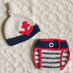 Newborn Hand Crochet Baby Boy Sailor Knot Hat and Diaper Cover