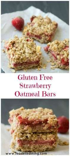 Simple Gluten Free Fresh Strawberry Oatmeal Bars are a quick and easy snack. Recipe at http://www.fearlessdining.com: http://www.fearlessdining.comrecipe/simple-gluten-free-strawberry-oatmeal-bars/