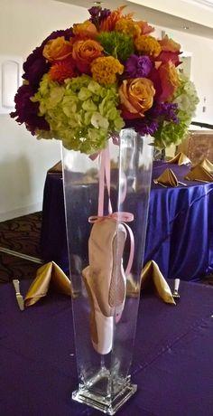 Ballet themed bat mitzvah - floral centerpiece - design by DB Creativity - laura@dbcreativity.com - dance - sweet 16 - birthday - ballet slippers - pink - orange - purple - green