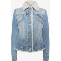 Alexander McQueen Shearling Denim Jacket ($2,279) ❤ liked on Polyvore featuring outerwear, jackets, medium vintage wash, pocket jacket, blue denim jacket, blue jackets, long sleeve jean jacket and denim jacket