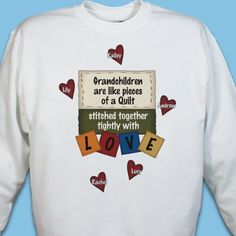 Perfect for the quilter who loves her family! Features any title (Grandkids, children, great-grandkids) and up to 30 names. In pink, white or gray. Diy Shirt, Tee Shirts, Vinyl Designs, Shirt Designs, Great Grandma Gifts, Foster Mom, Valentines Day Shirts, T Shirts With Sayings, Grandparents