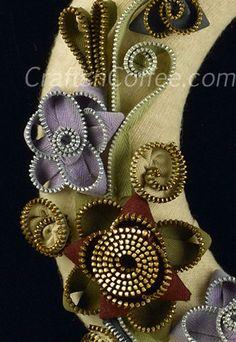 zipper flowers for fall wreath tutorial