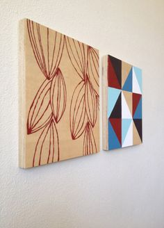 Wall art Pair of Beech ply wood paintings. by loooiedesign on Etsy, $50.00