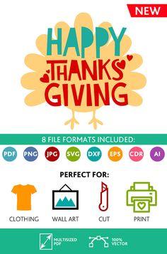 Happy Thanksgiving SVG Cut Files Wall Art Quote Printable Art Decor room Art Printable Poster digital (Svg Dxf Cdr Eps Ai Jpg Pdf Png)