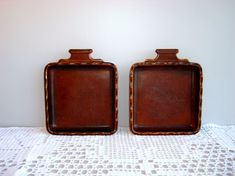 Vintage square pottery serving plates set of 2 от DelicateRetro