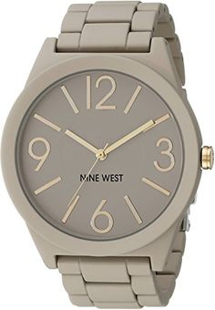 Nine West Women's NW/1678NTNT Rubberized Gray Watch with Link Bracelet