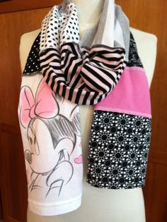 UPCYCLED tshirt scarf MINNIE MOUSE DIsney pink by verbositytees, $22.00