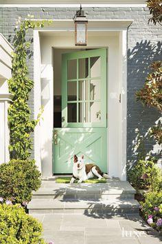 Mint Green Dutch Door – Pretty Gray Painted Brick House Previous Post Next Post Best Front Doors, The Doors, Front Door Paint Colors, Painted Front Doors, Paint Colours, Cape Cod Style, Entrance Decor, Entrance Ideas, House Entrance