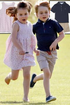 Prince George and Princess Charlotte polo: Duchess of Cambridge's children wear same affordable brand The Little White Company for royal family day out Prince William Family, Prince William And Catherine, George Of Cambridge, Duchess Of Cambridge, Princesa Diana, Royal Princess, Prince And Princess, Lady Diana, Toddler Fashion