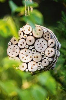 Aus verschieden dicken Ästen und einem Stück Seil lässt sich ein Heim für Insekten bauen – im Garten aufgehängt schön und nützlich.