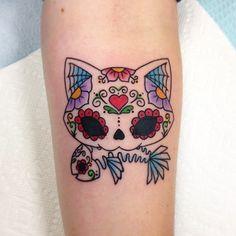 Cat sugar skull tattoo