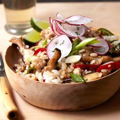 Thai One-Pot | Ground pork, rice, bell peppers, and shiitake mushrooms are cooked in a single pan and flavored with soy sauce, lime juice, and cayenne. Quick, delicious, and easy to clean up after—what more could you want in a dish?