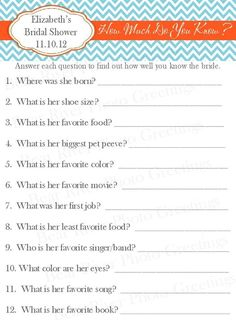 Vintage Bridal Shower Games | How Much Do You Know Bridal Shower Game by PhotoGreetings on Etsy