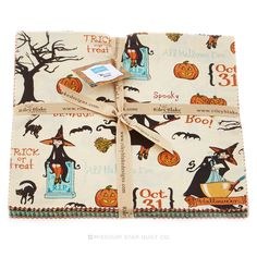 """Witch Hazel 10"""" Stacker - Will make a great Halloween Quilt, like this one: http://lellaboutique.blogspot.com/2014/10/a-spooky-quilt.html. Need to find the White Fabric with Black Polka Dots in the right size (Michael Miller """"Ta Dots"""" used in the pattern)."""