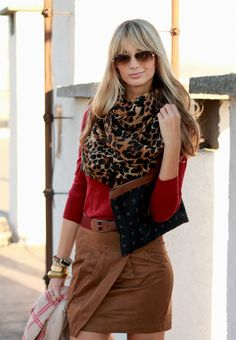 leopard, red & camel