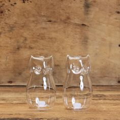 Glass Owl Salt & Pepper Shaker Set