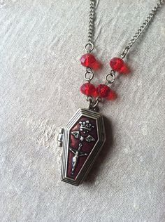 Halloween Jewelry Vampire Coffin Gothic Locket Necklace  #necklace #halloween  www.loveitsomuch.com