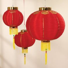 "Good Luck Lantern Set by Unknown. $23.95. Ornamental red & gold rayonese lanterns: one each measuring 8"", 12"" and 16"".. Save 50%!"