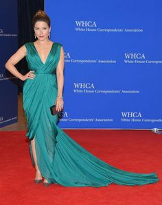 Sophia Bush in a teal Monique Lhuillier dress at the White House Correspondents' Dinner